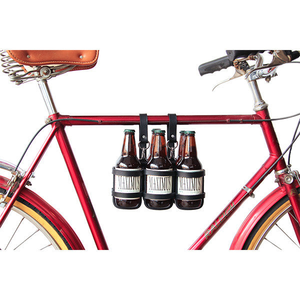 Bicycle Beer Carrier in Black Leather