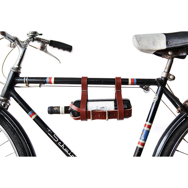 Bicycle Wine Carrier in Brown Leather