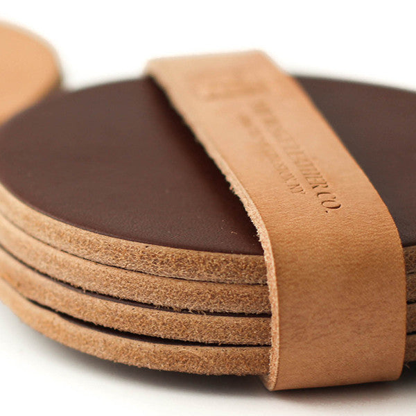 Coaster Set in Brown Smooth Leather