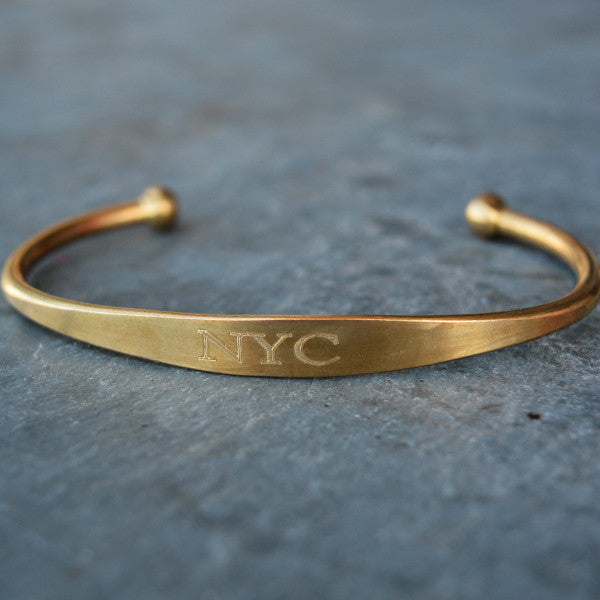 """NYC"" Engraved Men's Bracelet - Jook & Nona - New York Makers"
