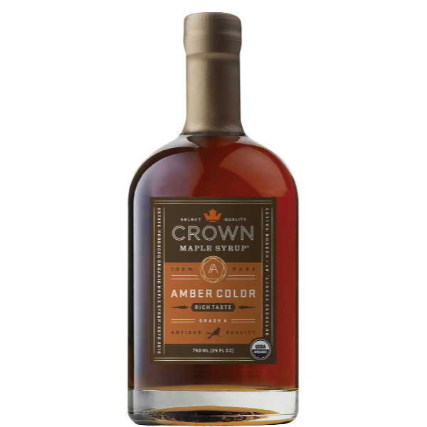 Maple Syrup: Grade A, Amber Color, Rich Taste (750ml) - Crown Maple - New York Makers
