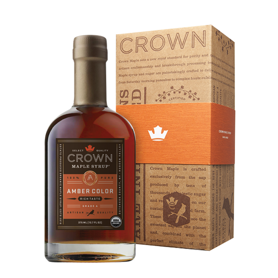 Maple Syrup: Grade A, Amber Color, Rich Taste in Royal Treatment Box (375ml) - Crown Maple - New York Makers