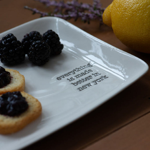 """Everything is Made Better in New York"" Porcelain Tray - New York Makers - New York Makers"