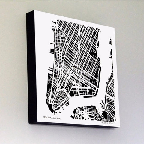 Lower Manhattan Woodblock-Mounted Map Print