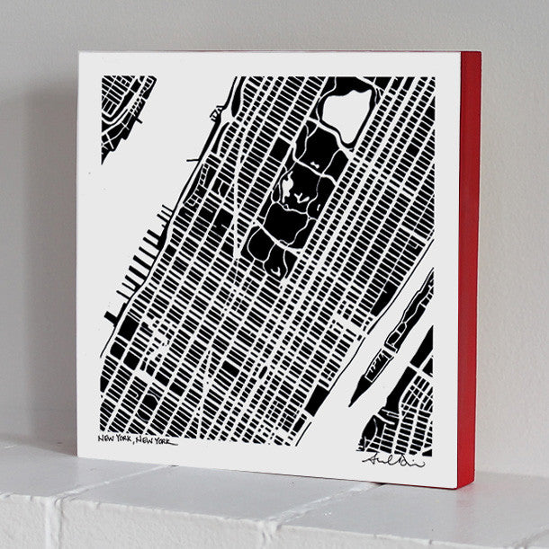 Midtown and Upper Manhattan NYC Woodblock-Mounted Map Print
