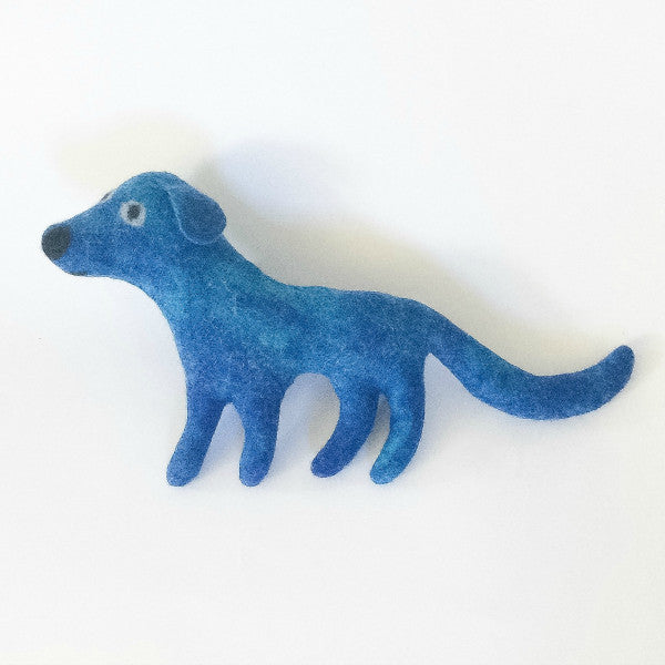 Miles the Dog in Turquoise Felted Stuffed Animal