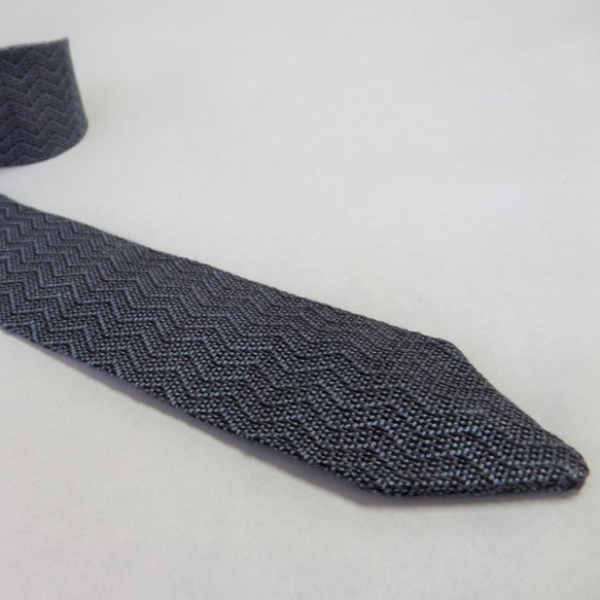 Handwoven Necktie in Azure Blue Herringbone