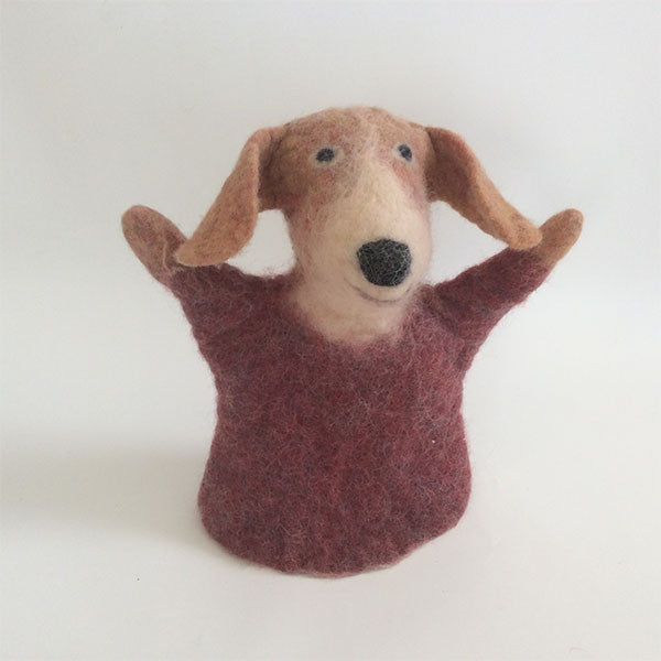 Charlie the Dog Felted Puppet and Stuffed Animal