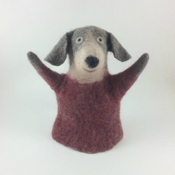 Dog Felted Puppet in Grey and Claret