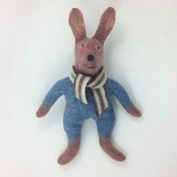 Rabbit Felted Stuffed Animal in Chocolate and Blue