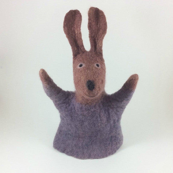 Rabbit Felted Puppet in Chocolate and Lavender