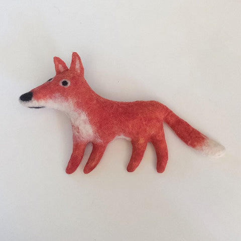 Frank the Fox Felted Stuffed Animal in Red and White