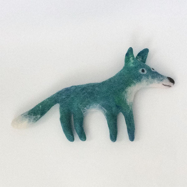 Frank the Fox Felted Stuffed Animal in Turquoise and White
