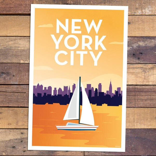 New York City Sail - View From Hudson River Print - Bold Version Design - New York Makers