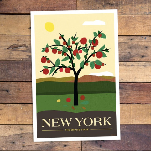 New York Apples Print - Bold Version Design - New York Makers