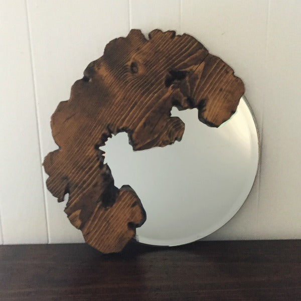 Organic Live Edge Mirror in Medium Walnut Brown