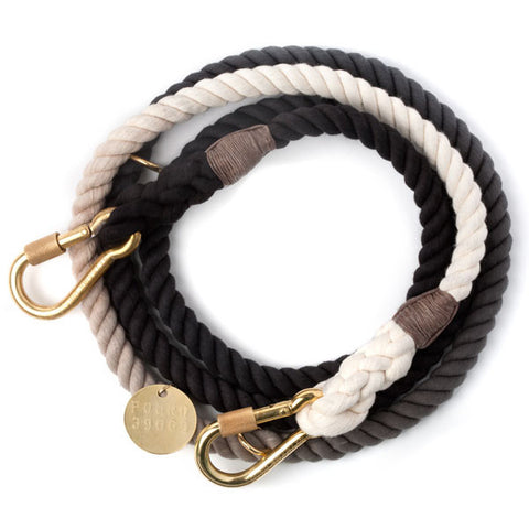 Rope Dog Leash in Black Ombre