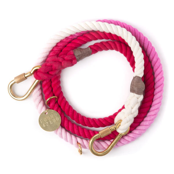 Rope Dog Leash in Magenta Ombre