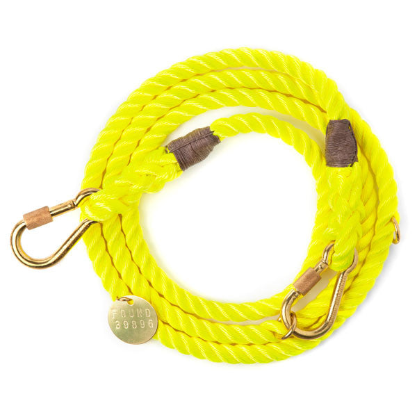 Rope Dog Leash in Neon Yellow