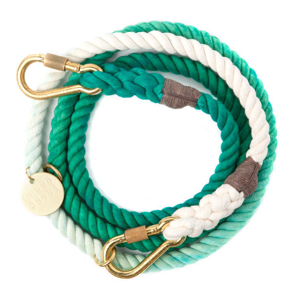 Rope Dog Leash in Teal Ombre