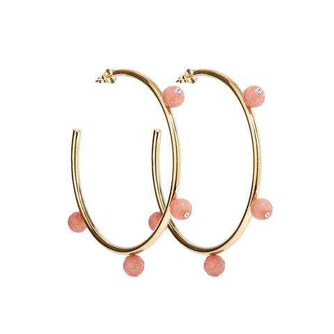 """Oh So Pretty"" Hoops in Gold & Pink"