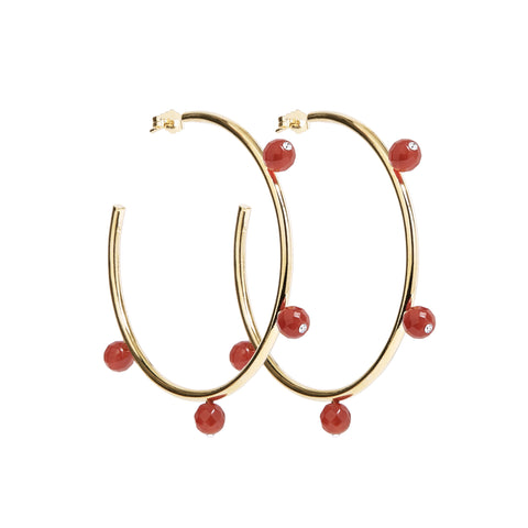 """Oh So Pretty"" Hoops in Gold & Red"