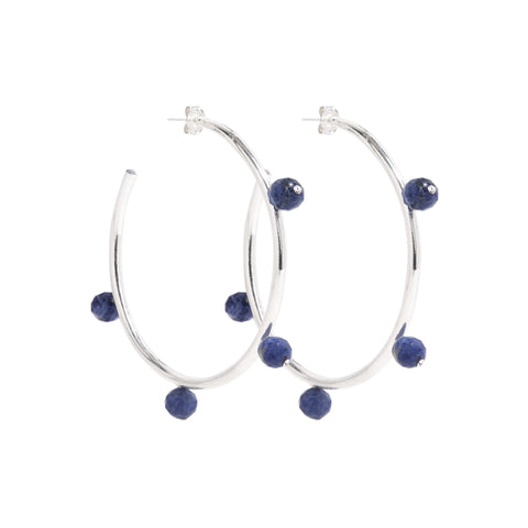 """Oh So Pretty"" Hoops in Silver & Blue"
