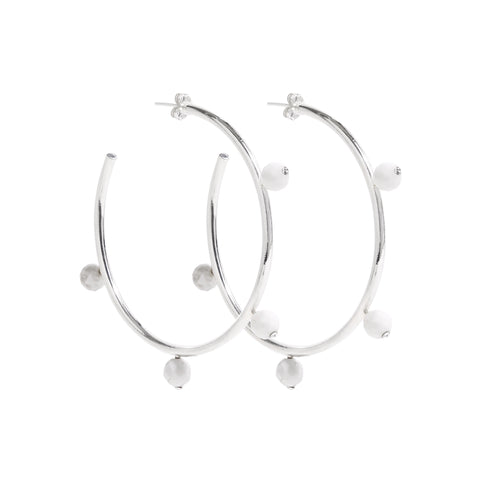 """Oh So Pretty"" Hoops in Silver & White"