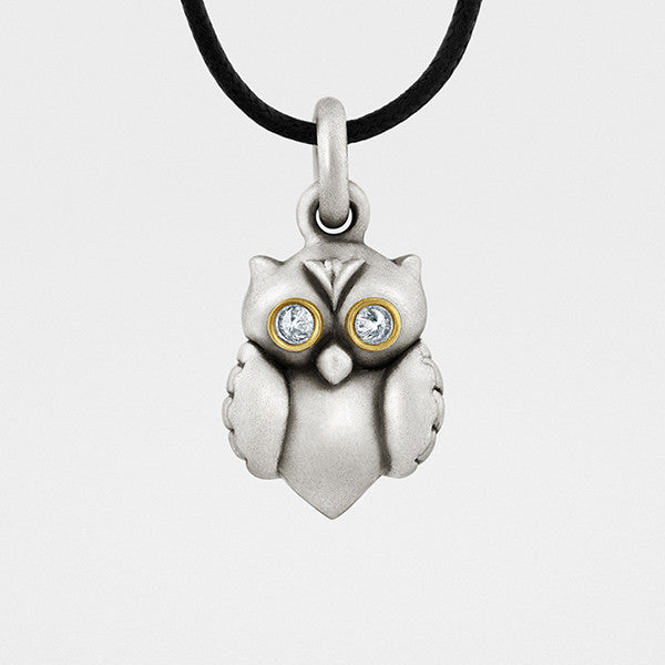 Owl Pendant in Sterling Silver, Gold, & Diamonds