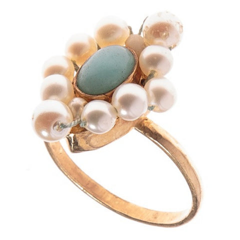 Handwoven Pearl and Chinese Amazonite Ring