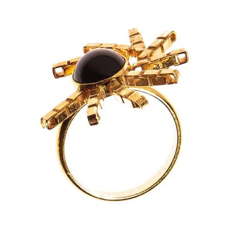 Gold and Onyx Sundial Ring