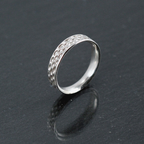 Snakeskin Concave Sterling Silver Band