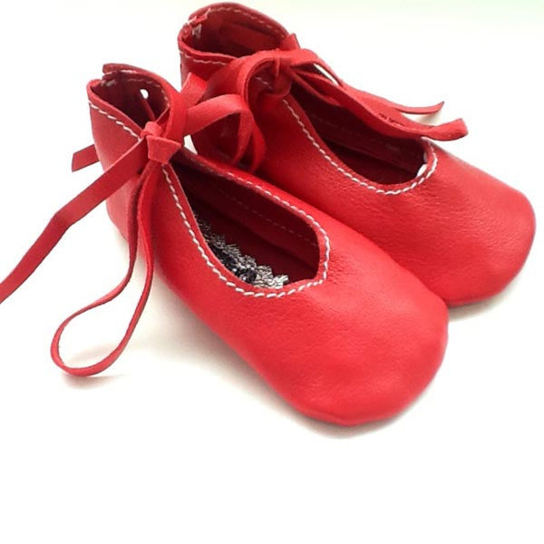 Red Lambskin Baby Ballet Shoes