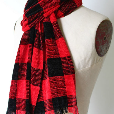 Handwoven Chenille Scarf in Multiple Patterns
