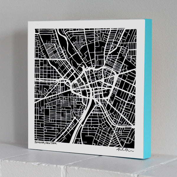 Rochester Woodblock-Mounted Map Print