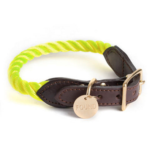 Rope Collar for Dog and Cat in Neon Yellow