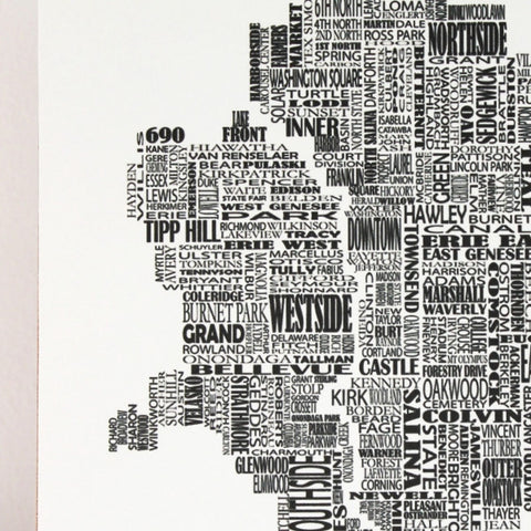 Syracuse Typographic Woodblock-Mounted Map Print