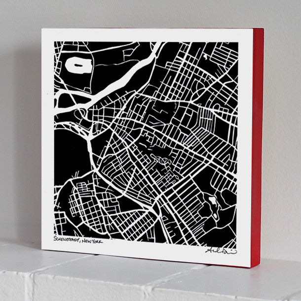 Schenectady Woodblock-Mounted Map Print