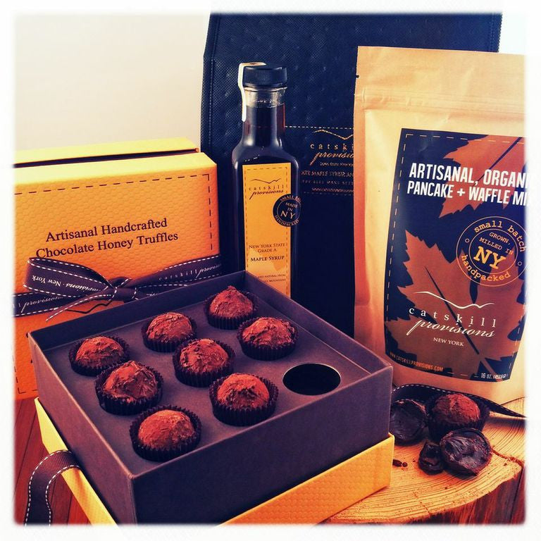 """Seal the Deal"" Chocolate Honey Truffles, Pancake Mix and Maple Syrup Gift Set"