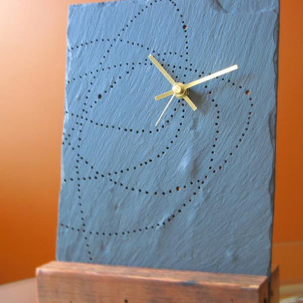 "Salvaged Slate & Reclaimed Wood ""Orbit"" Tabletop Clock"