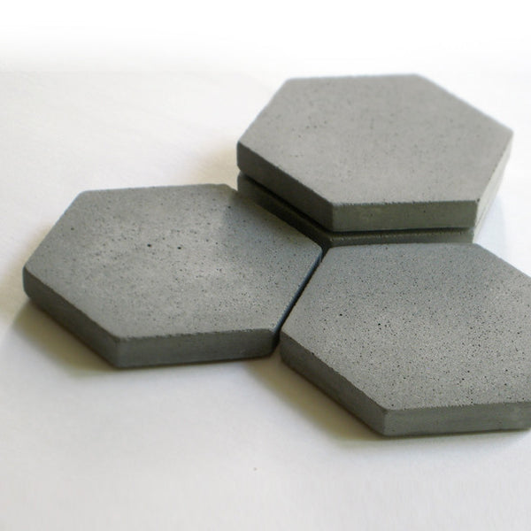 Concrete Hexagon Coaster in Multiple Sets and Shades