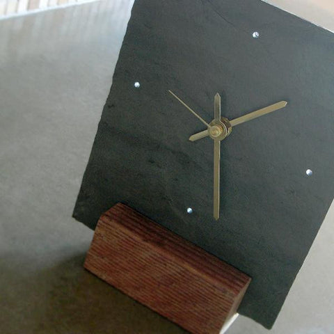 Small Salvaged Slate & Reclaimed Wood Tabletop Clock