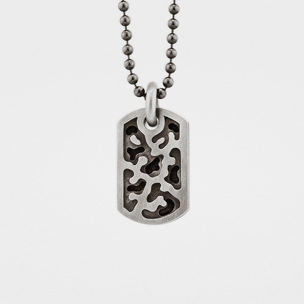 Camouflage Dog Tag in Sterling Silver