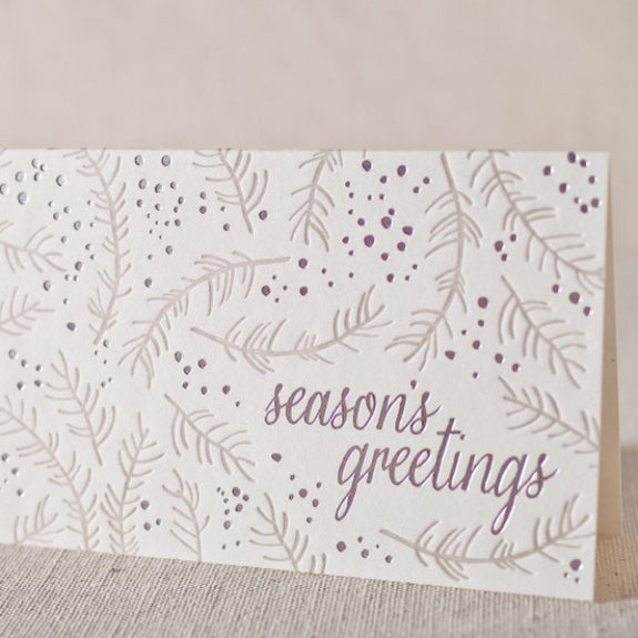 "Letterpress ""Season's Greetings"" Foil Stamped Holiday Cards"