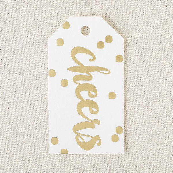 """Cheers"" Gold Foil Holiday Gift Tags"
