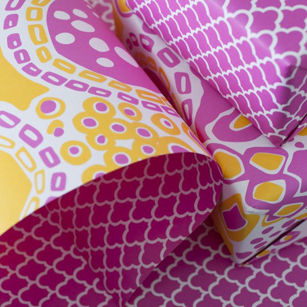 "Double-Sided Gift Wrap in ""Pomelo"""