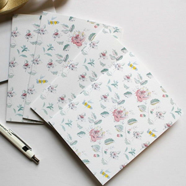 Floral Hand-Painted Watercolor Stationery Set - Roses & Bees