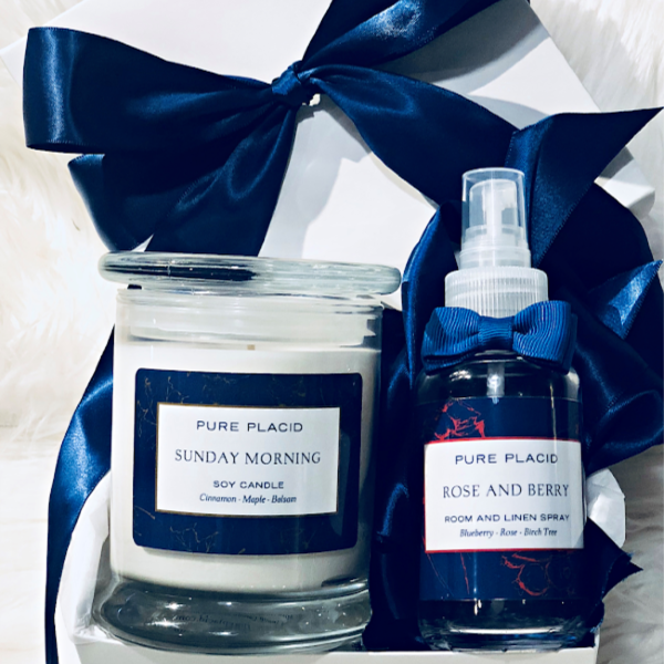 Sunday Morning Candle with Rose & Berry Room and Linen Spray Gift Set