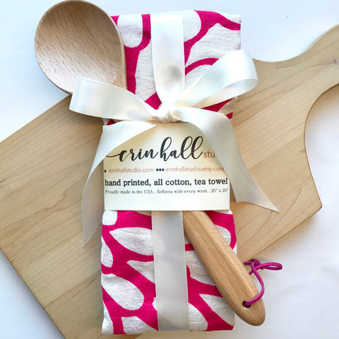 Handprinted Tea Towel & Wooden Spoon Gift Bundle in Multiple Colors