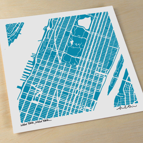 Midtown and Upper Manhattan NYC Hand-Drawn Map Print